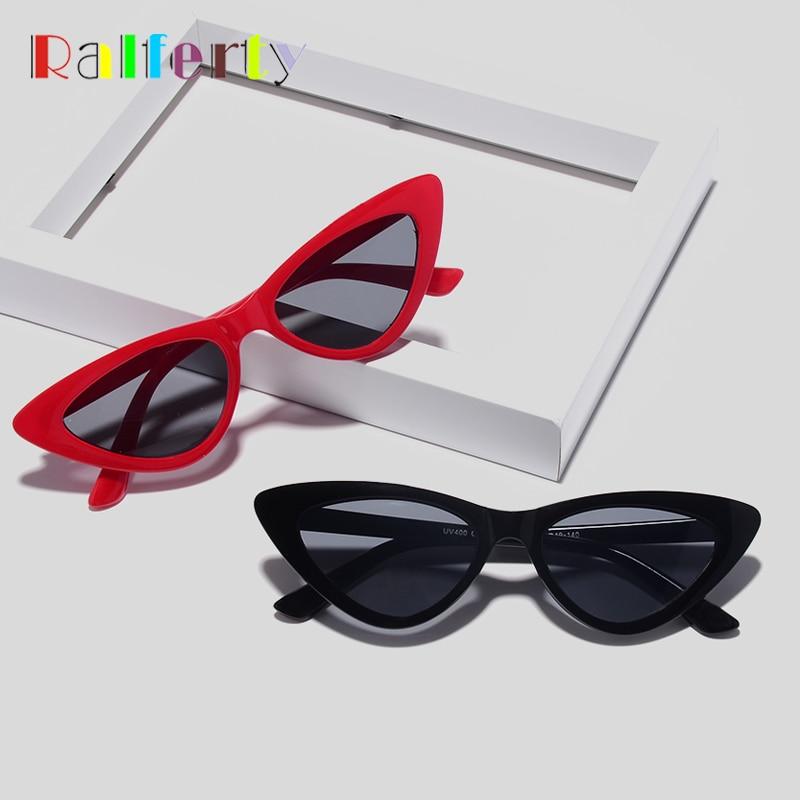 Ralferty Sunglasses Women Oculos Lunette-De-Soleil Black Shades Cat-Eye Retro UV400 Femme