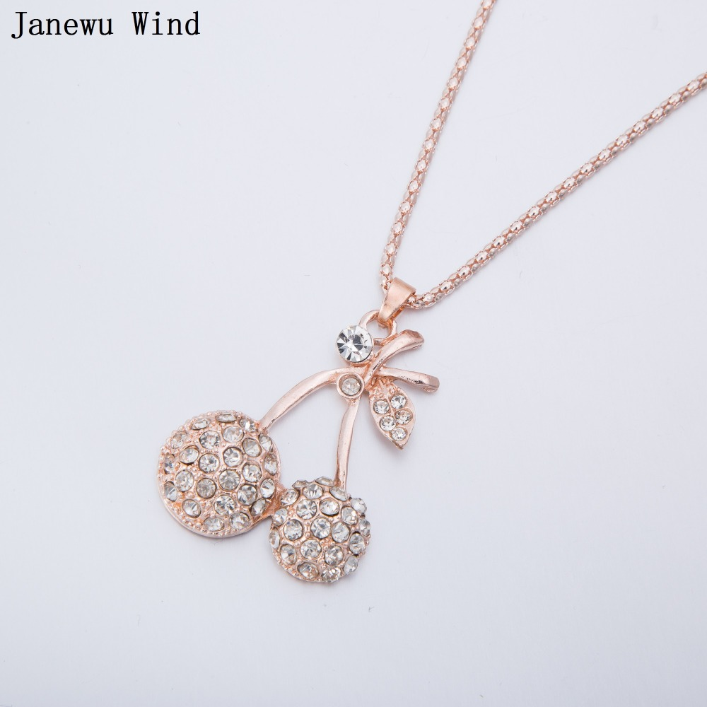 Janewu Wind sweet Cherry Pendant Necklace female rose gold color popcorn chain crystal Necklace women
