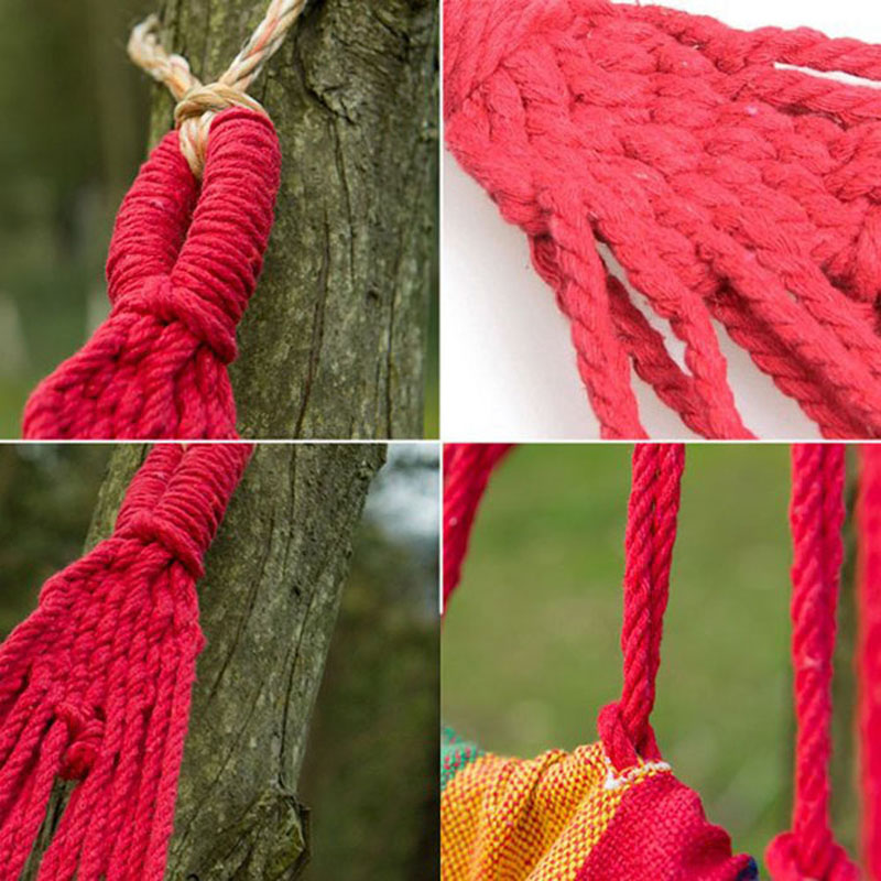 Portable Cotton Rope Outdoor Swing Fabric Camping Hanging Hammock Canvas Bed Tent 2018 2 people portable parachute hammock outdoor survival camping hammocks garden leisure travel double hanging swing 2 6m 1 4m 3m 2m
