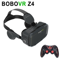 BOBOVR Z4 VR 3D Virtual Reality Glasses Black with Headphone for 4.7-6.2″ Smartphone + Black 4 Types Bluetooth Remote Gamepad