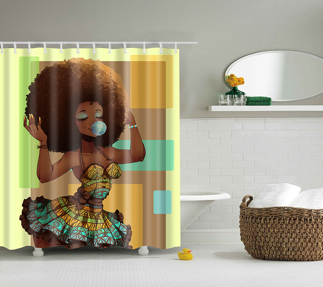 Afro Girl African American Shower Curtain Make Up Woman Waterproof Bathroom Curtains Fabric 180X180cm For