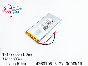 Image 3 - Liter energy battery The tablet 4360105 3.7V 3000MAH 4060105 Universal Li ion battery for tablet pc 7 inch 8 inch 9 inch