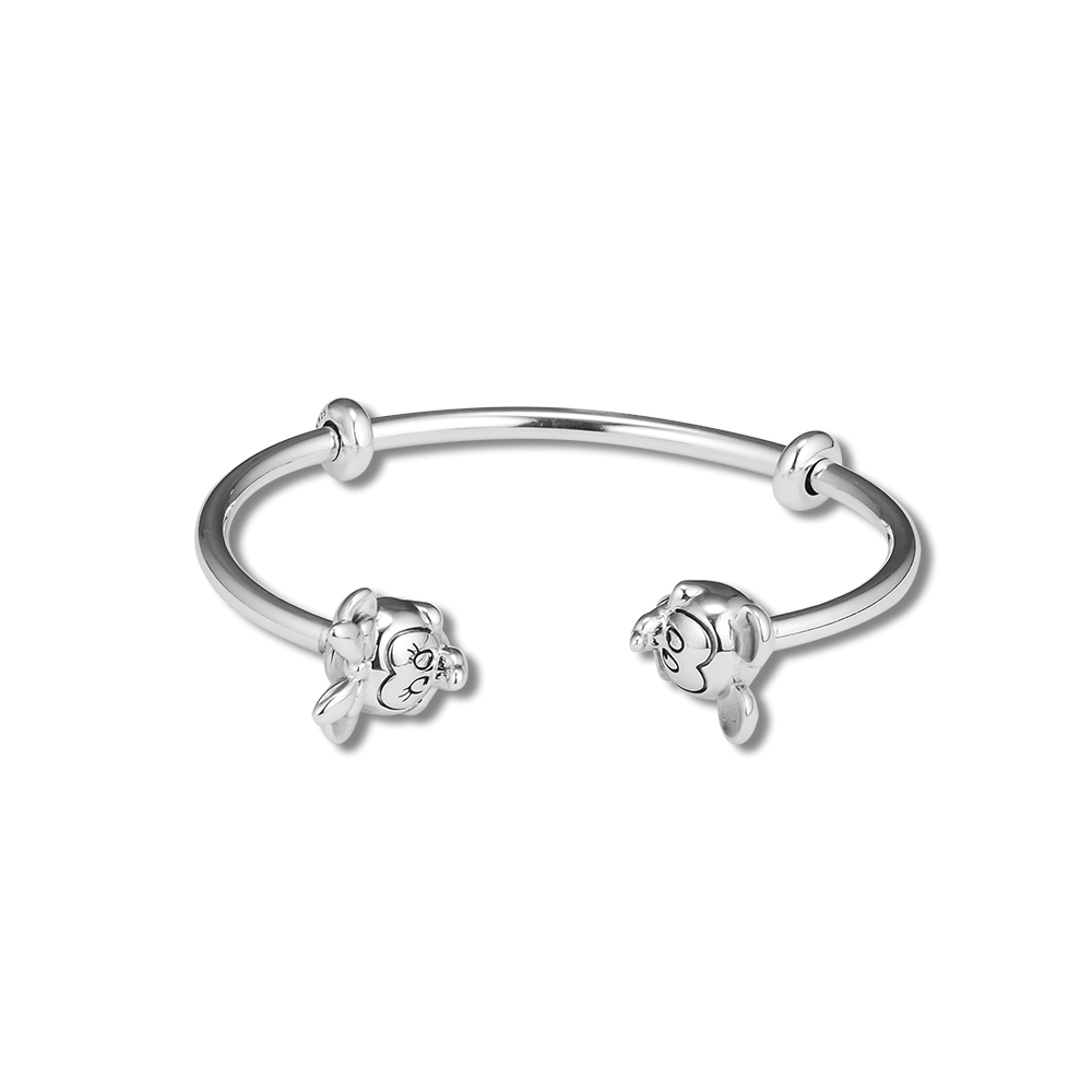 Pandulaso Mouse & Minnie Open Bangle Mothers Day 925 sterling silver jewelry bangles for woman jewelry making Bracelet & BanglePandulaso Mouse & Minnie Open Bangle Mothers Day 925 sterling silver jewelry bangles for woman jewelry making Bracelet & Bangle