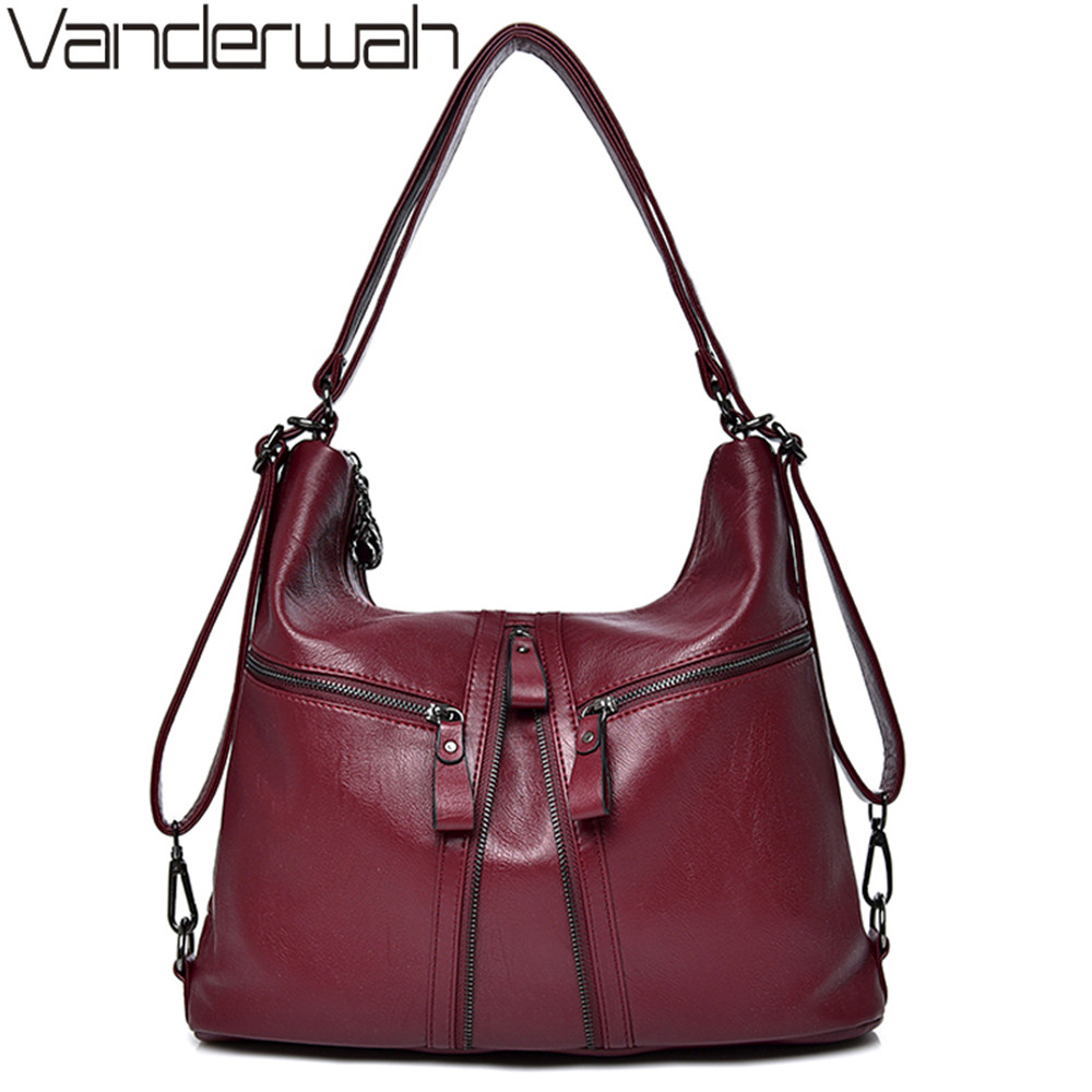 VANDERWAH 2018 Hot Big Women Bags Soft Leather Hobos Female Handbags Fashion Shoulder Bags Ladies High