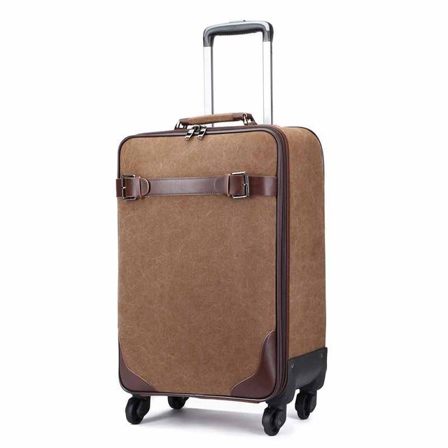 BeaSumore 16 inch Cabin Rolling Luggage Spinner Suitcase Wheel 20 inch Canvas Password Trolley Case Travel Bag Women School Bag