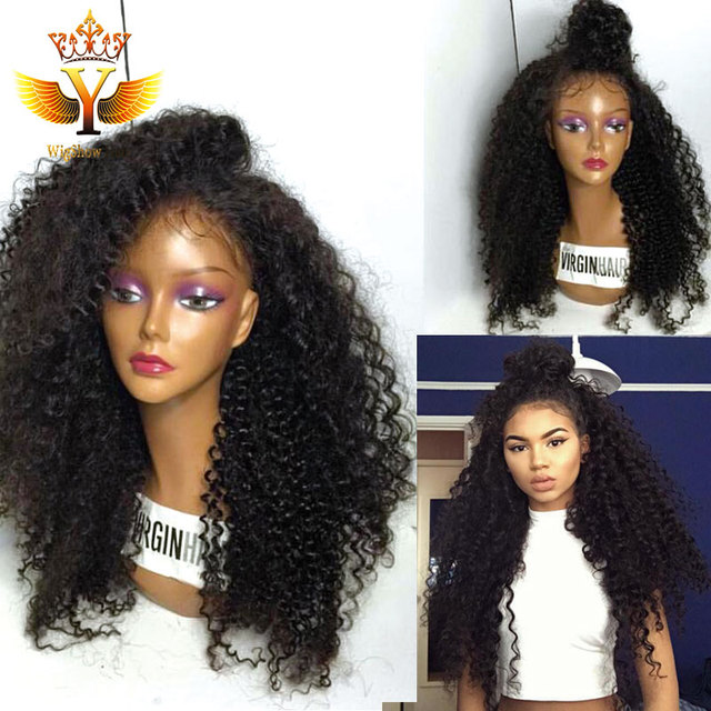 Black Wig Good Synthetic Lace Front 180% Density Synthetic Wigs Heat Resistant Fiber Kinky Curly Wigs Glueless Synthetic Wigs 6a