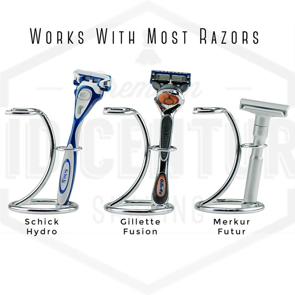 ZY Stainless Steel Badger Shaving Brush Holder Double Edge Safety Shaving Razor Stand For Man Shave Beard  2