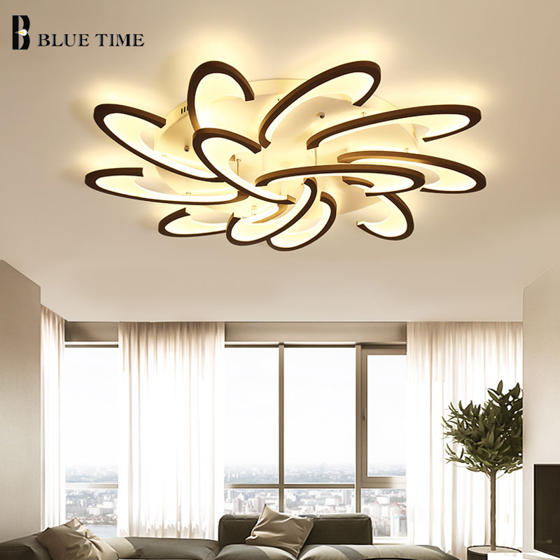 New Arrival Minimalist Modern Led Ceiling Lights Living room Bedroom Luminaires Black White Frame Acrylic Ceiling