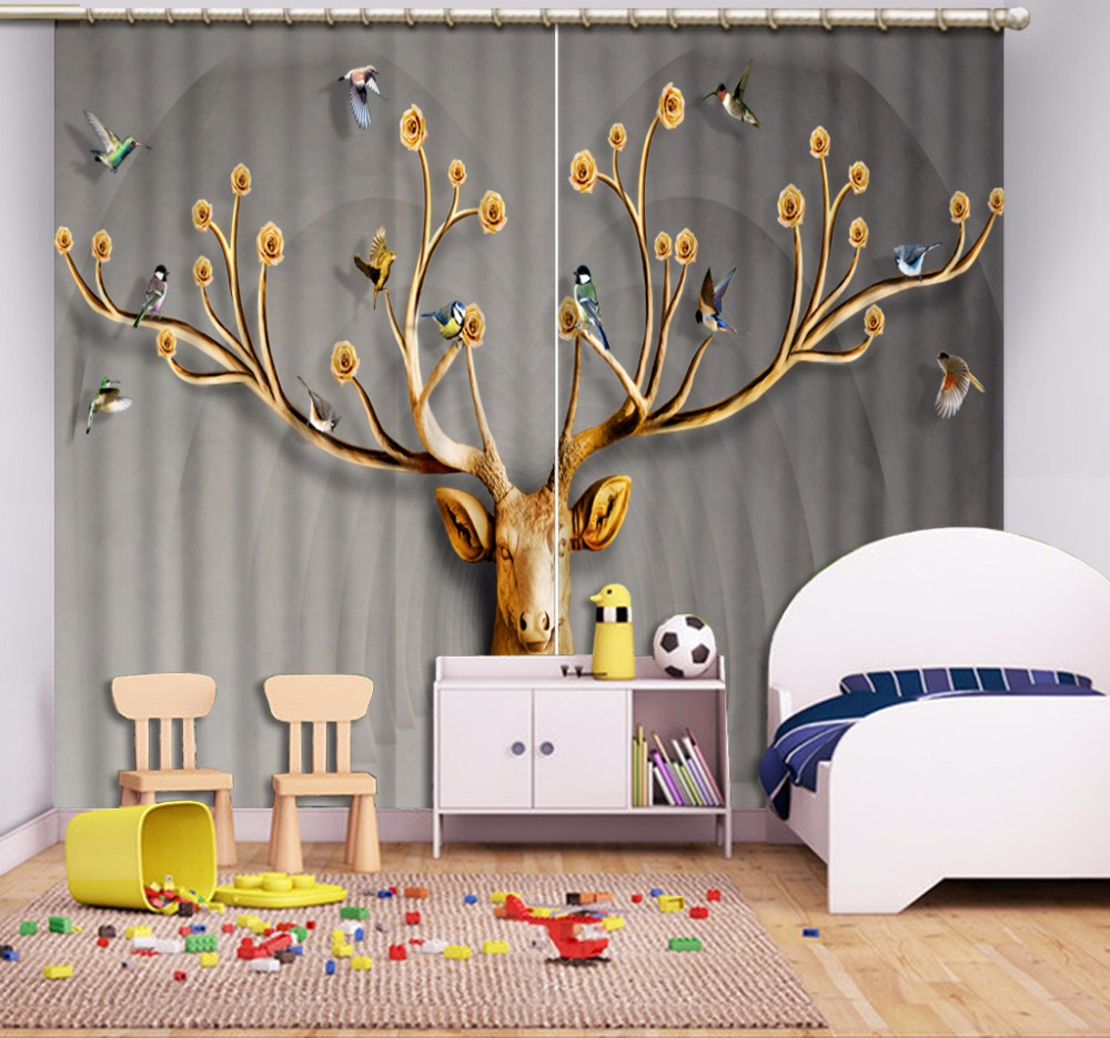 3D Curtain Home Bedroom Decoration Curtain Living Room Deer Head Space Grey Curtains Blackout Shade Window Curtains