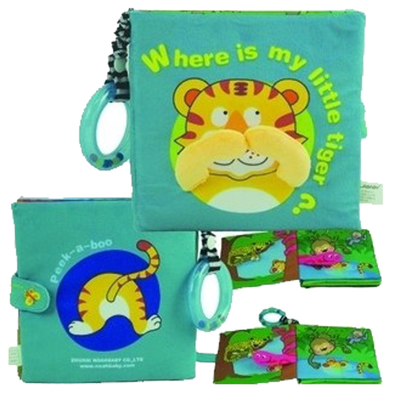 Candice guo multifunctional lalababy where is my little tiger story tool educational stereo cloth book baby toy rattle gift 1pc
