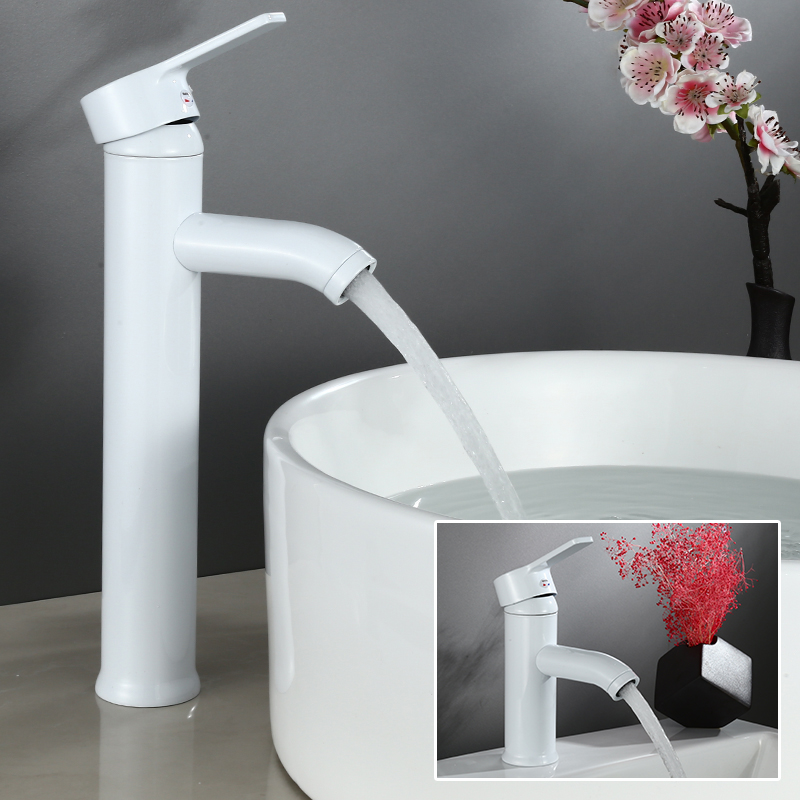 Luxury Bathroom Faucet White Single Handle Hot Cold Switch Water Mixer Taps Wash Basin Bathroom Deck Mounted Basin Faucet Luxury Bathroom Faucet White Single Handle Hot Cold Switch Water Mixer Taps Wash Basin Bathroom Deck Mounted Basin Faucet