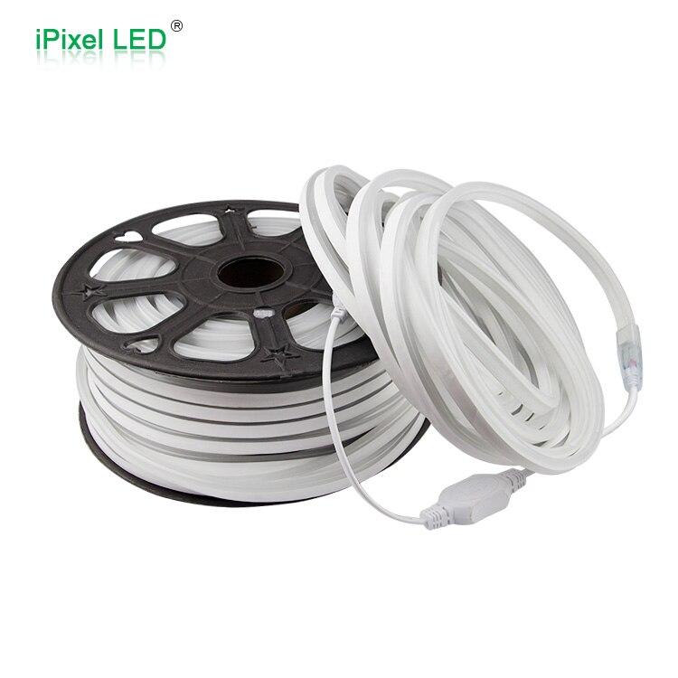 Мини Размер Свет веревочки 50m roll cuttable за метр белый cct 6500 К Высокое напряжение ультра тонкий LED Neon Flex