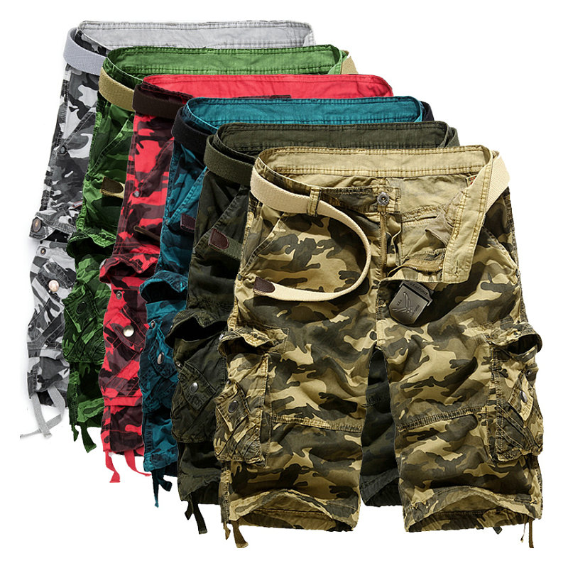 2018 Hot Camouflage Cargo Mens   Shorts   Summer Casual Cotton Military Camo Workout Bermuda   Shorts   For Men
