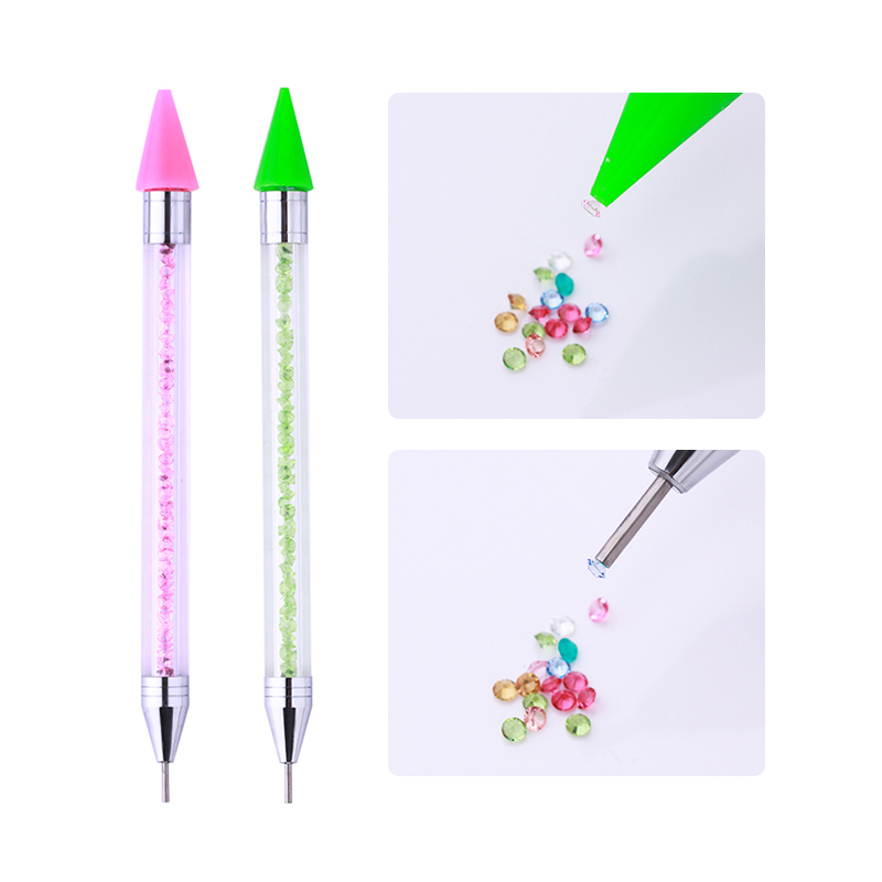 1 Pc Dual-ended Nail Rhinestone Studs Picker Crystal Handle Wax Pencil Manicure DIY Nail Art Tool