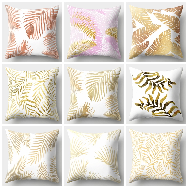 Nordic Style Pillow Case Geometry Plant Gold Trees Leaf Polyester Cotton Sofa Cushion Cover Decorative Throw Pillows Cover