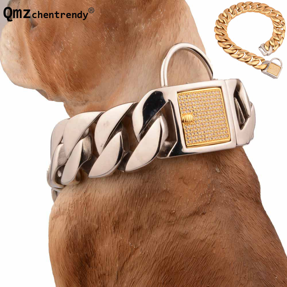 30mm wide Extra-coarse 316L Stainless Steel Golden Silver Cuban Pet Dog Chain Neckaces Collars Choker Necklaces CZ Clasp Chain цена