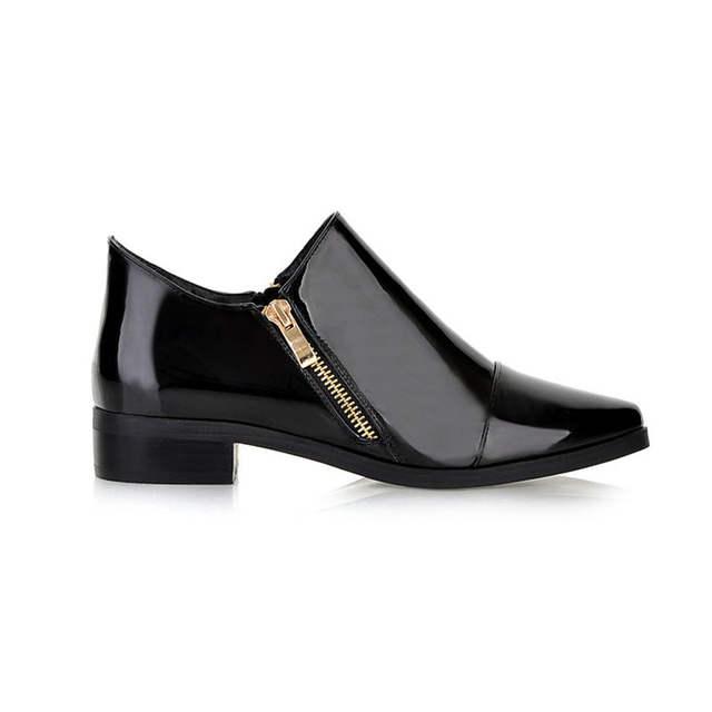 6aef8509db Moda Sapato de Bico Fino Mulheres Botas Zip Mulheres Sólidos Sapatos de  Couro de Patente Sapatos