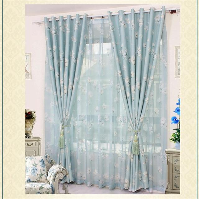 2017 Imprimé fleur de mode style belle bleu rideau pour salon fenêtre rideau  diviseur décoration SQ170