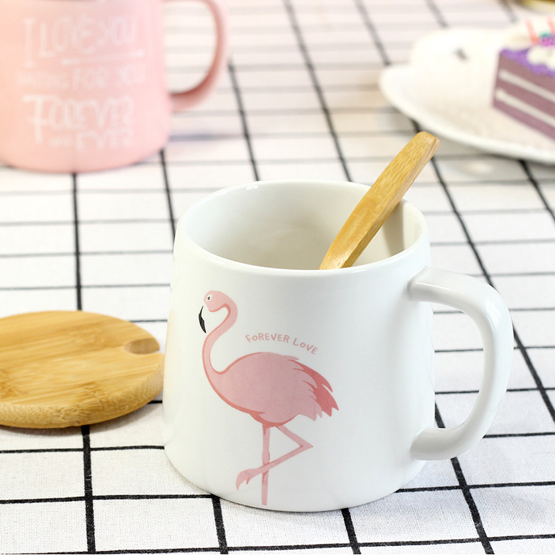 Flamingo Milk Mugs with Lid Spoon Cute Ceramic Cup Creative Coffee Mug Porcelain Office Tea Cups Home Drinkware Fancy Gifts