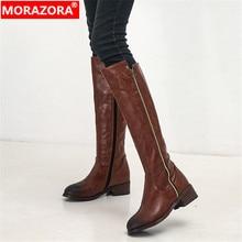 MORAZORA 2020 גדול גודל 34 48 הברך גבוהה מגפי נשים רוכסן עגול הבוהן כיכר עקבים פלטפורמת נעלי סתיו חורף מגפיים נשי