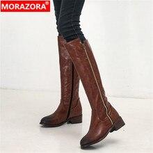 Morazora 2020 Big Size 34 48 Đầu Gối Cao Giày Boot Nữ Khóa Kéo Mũi Tròn Gót Vuông Đế Giày Mùa Thu Đông giày Nữ