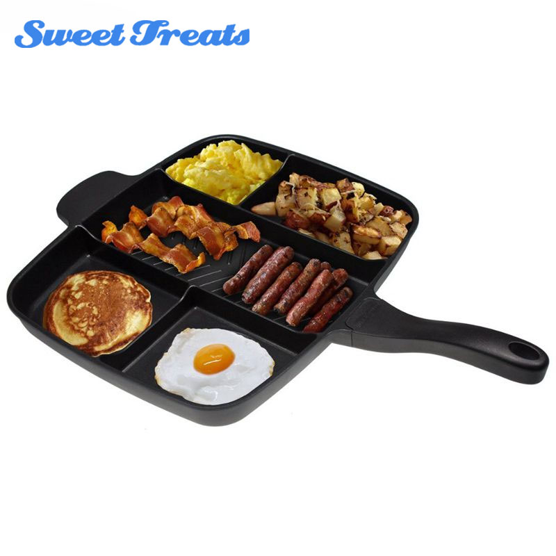 Sweettreats 5 in 1 magic pan Non-Stick Divided Grill/Fry/Oven Meal Skillet, 15, Black
