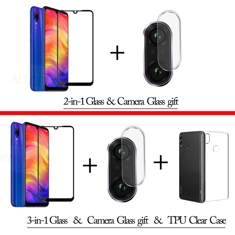 3-in-1 Case + Camera Tempered Glass For Redmi 7A Note 7 Screen Protector Lens Glass On Redmi 7A Note 7 Camera Glass free Gift