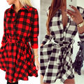 Preppy Style Women Long Sleeve Shift Dress Kilt Tartan Check Plaid Tunic Dresses Fall Autumn Frock Sexy Long Blusas Shirt Top