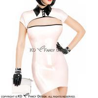 Сексуальное платье из латекса с Кепки рукава пуговицы Сверху молния на спине без перчатки резиновые платье карандаша Bodycon LYQ 0129