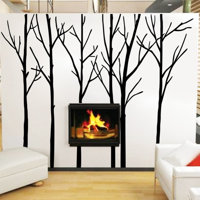 60df3e47b5a3 Cozy&Homy Winter Tree Wall Decal Forest Vinyl Wall Art Graphics Family  Living Room Decoration(Large,black)