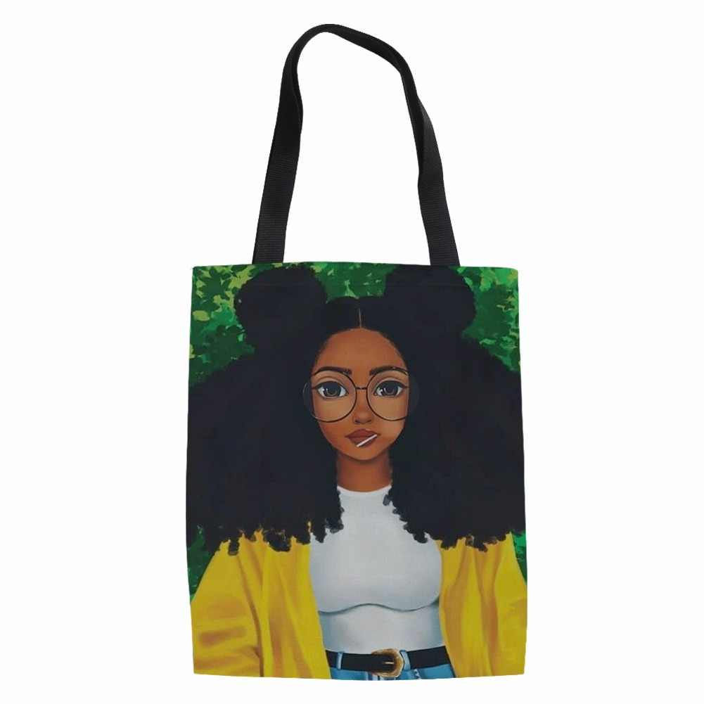 FORUDESIGNS Shopping Bag for Women Black Art Afro Lady Girls Printing Reusable Shoulder Bags Casual Large Linen Tote Ladies 2018