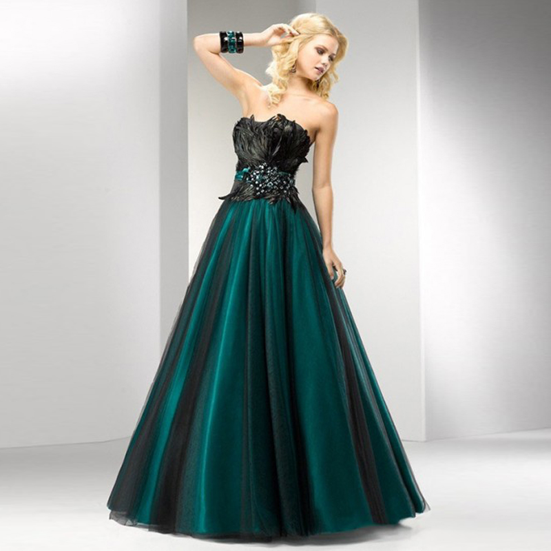 New Fashion Feathers Green Long Evening Dresses Amazon Formal Dress