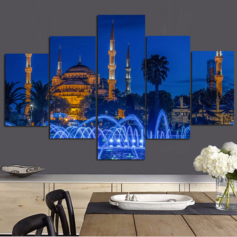 5Panel HD Print Islamic Turkey <font><b>Istanbul</b></font> Sultan Ahmed Mosque Religious Landscape on Canvas Wall Modular Painting for Living Room image