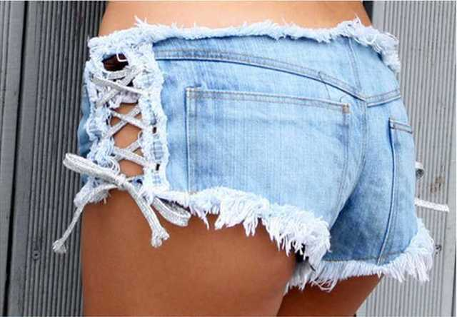Wholesales Sexy Women Denim Jeans Shorts Short Hot Low Waist Side Straps