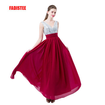 FADISTEE new arrive party prom dress Vestido de Festa V neck evening party long style bling sequins pleat chiffon dresses