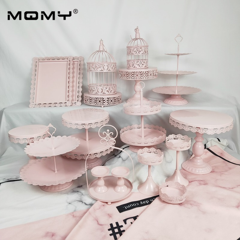 18 Pieces Set Golden White Pink Wedding Cupcake Stand in Cake Decorating Supplies from Home Garden