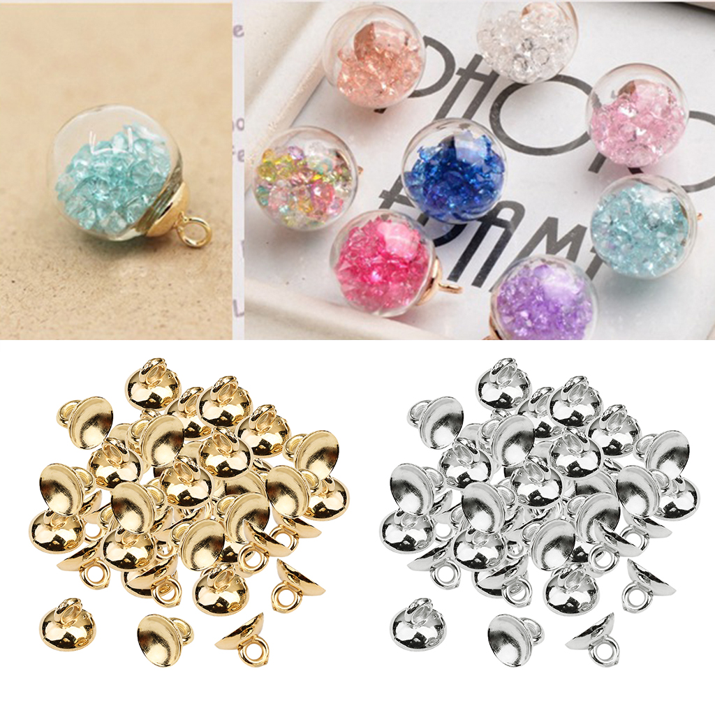 200x Ball Pendant End Cap Craft Bell Shape Bead Caps Jewelry Findings Silver
