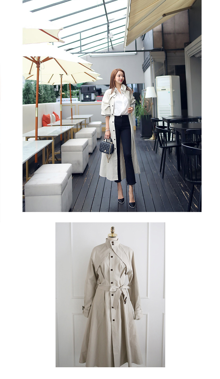 new arrival high quality women fashion comfortable loose a-line trench coat professional temperament outdoor warm long trench 11