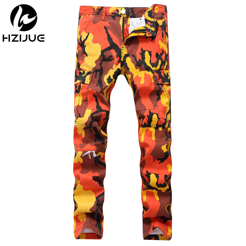2018 High Quality Hip Hop Streetwear Joggers Pants Couple Camo Sweatpants jeans Orange Pink Camouflage Cargo Pants Men Women
