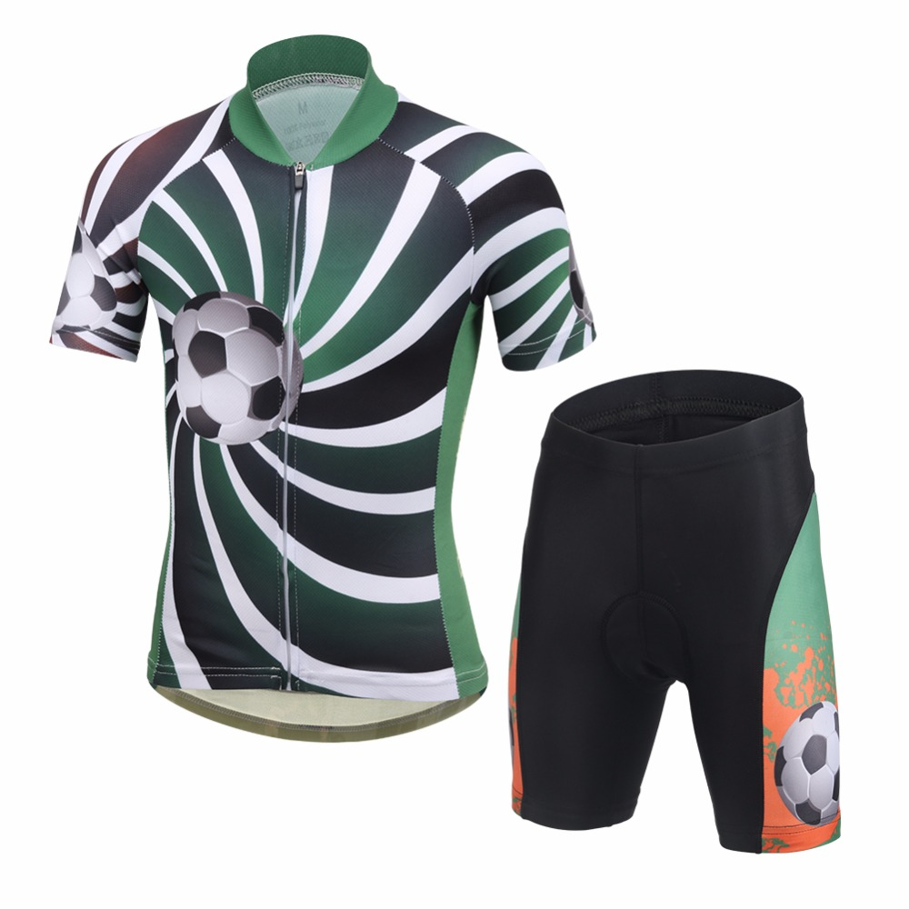 New Children Cycling Clothing Printed 3D Soccer Boys Bike Jersey Shorts with padded Ropa Ciclismo Summer Kids wielerkleding цена