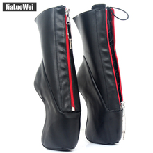 jialuowei Ankle Boots 7 High Hoof Heel Pointed Toe Sexy Women Fetish Lockable Zipper Lace-up Ballet Size 36-46