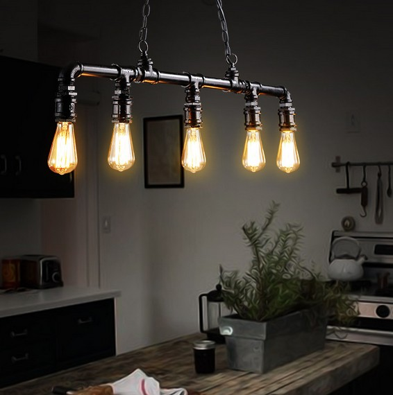 Loft Style 5 Head Water Pipe Lamp Edison Pendant Light Fixtures Vintage Industrial Lighting For Dining Room Droplight Suspension