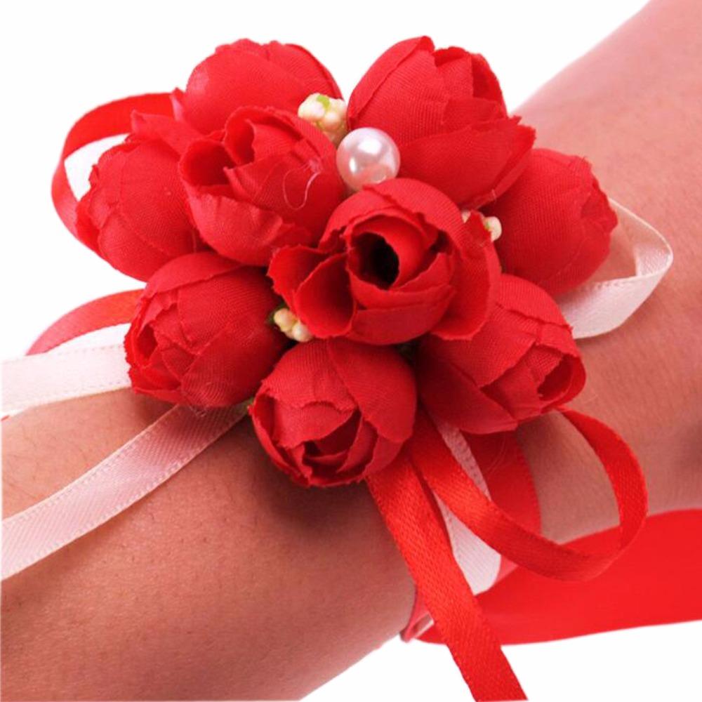 mano flor decor chica mueca corsage novias boda de la flor artificial emulacin de pulsera - Flor Decor