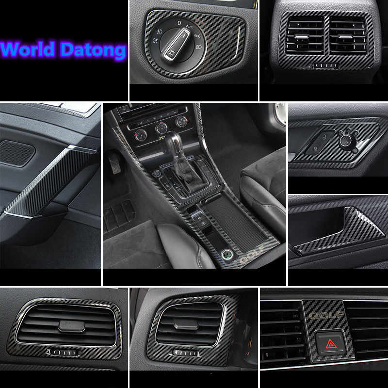 Mobil Interior Moulding Cover Serat Karbon Texturestainless Baja Decroation Menutupi Trim untuk Volkswagen VW Golf 7 7.5 Mk7