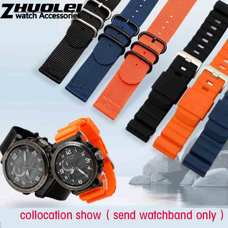 for Casio PRG-600YB-3 mountaineering strap fit prg-650 PRW-6600 silicone nylon watchband 24mm Suunto Waterproof rubber bands casio pro trek prg 600yb 3e