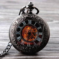 2015 New Cool Hand Wind Mechanical Pocket Watch Skeleton Watches Fashion Men Watch Vintage Pocket Watch