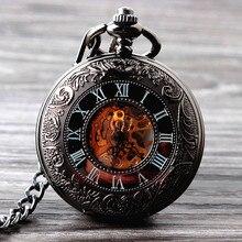 2015 Nuevo Fresco Esqueleto Reloj de Bolsillo Mecánico de la Mano del Viento Relojes de Los Hombres de Moda Reloj de Bolsillo de La Vendimia Reloj