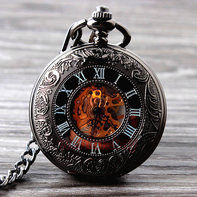 Retro Hand Wind Mechanical Pocket Watch With Fob Chain Mens Hollow Skeleton Dial Black Steel Fashion Quartz Pocket Watch Gifts