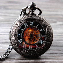цена на 2015 New Cool Hand Wind Mechanical Pocket Watch Skeleton Watches Fashion Men Watch Vintage Pocket Watch