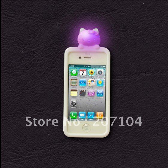 New desigh colorful 10ps Hello Kitty Change logo Sense Flash LED light Cover Case for Apple iPhone 4/4s New free Shipping